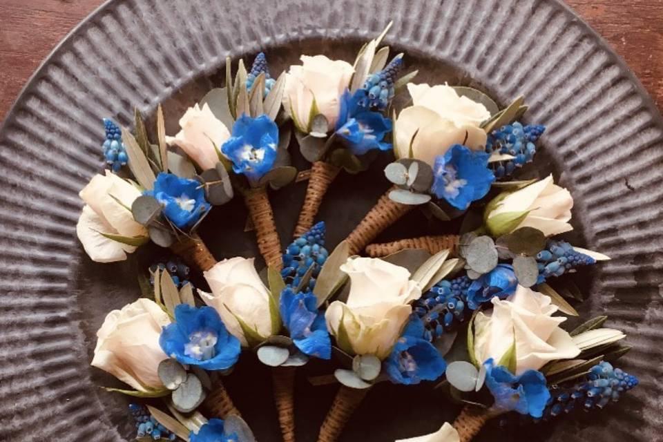 Rustic Blue Boutonnières