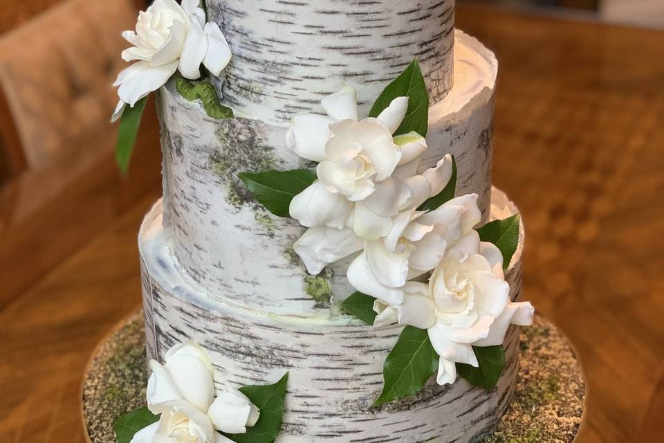 White bark wrap with flowers