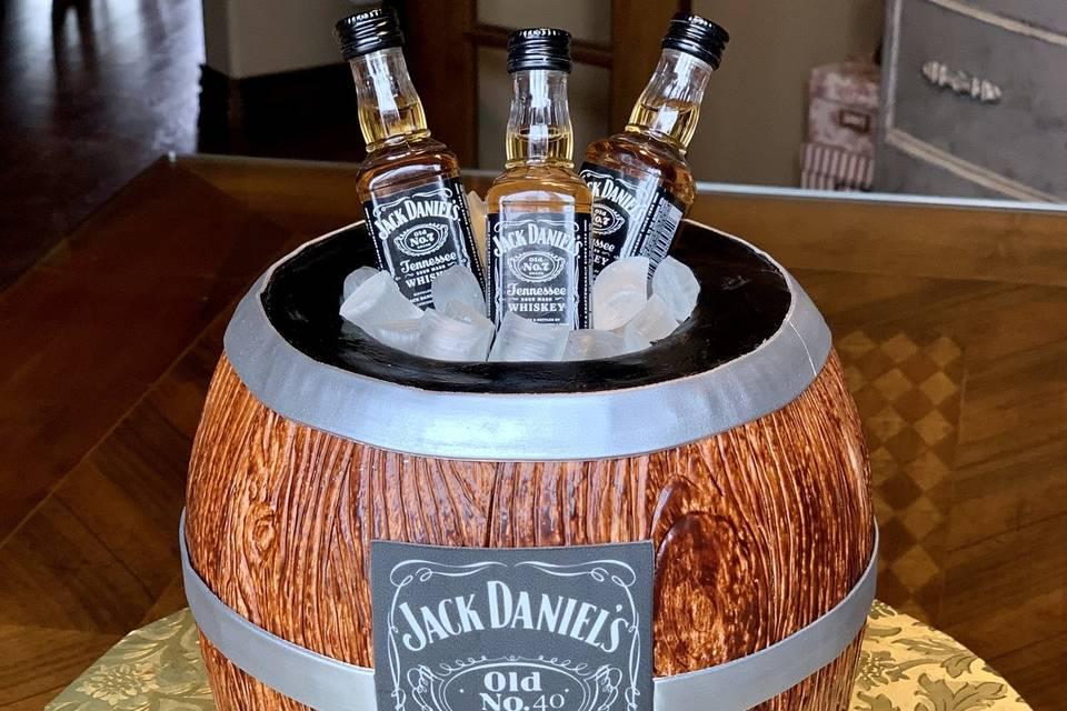 Jack Daniels barrel groom cake