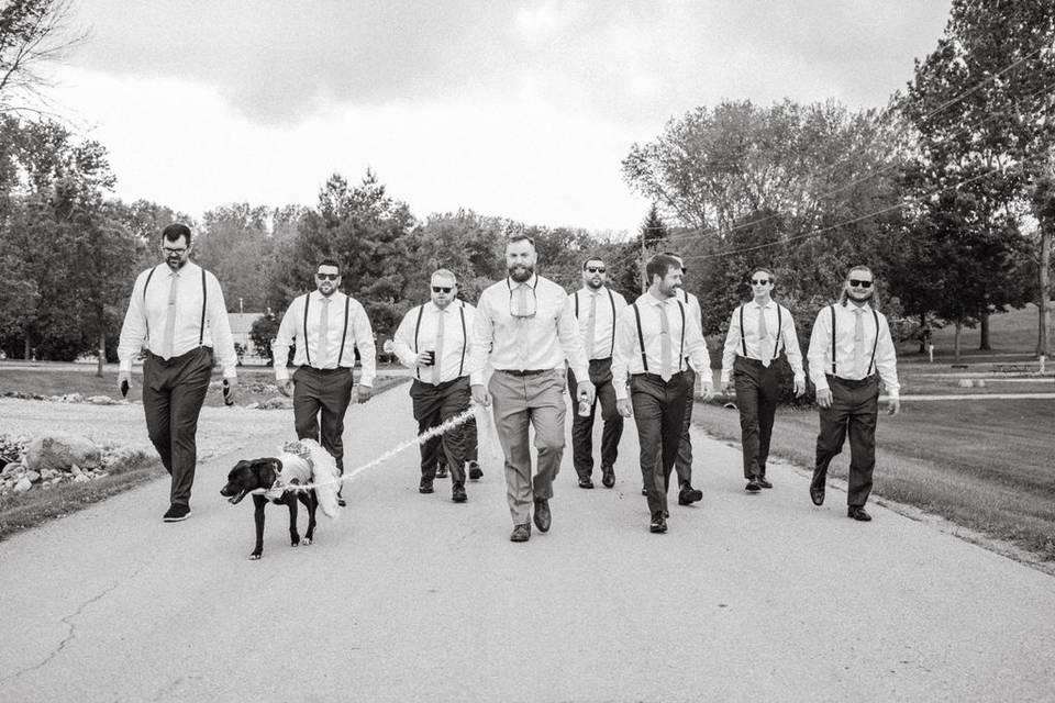 Grooms Men Walk-Thru The Park