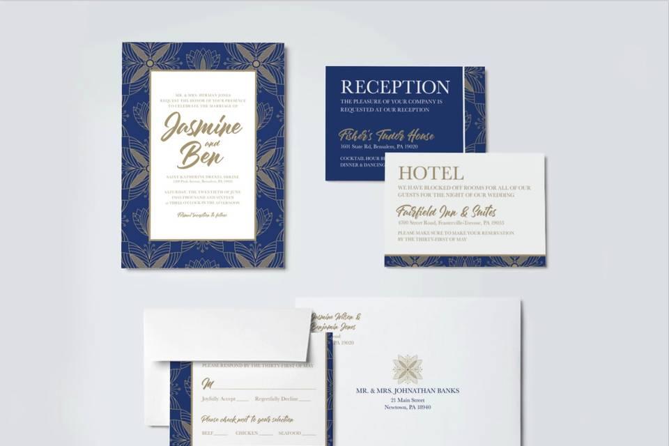 Blue Gold wedding suite
