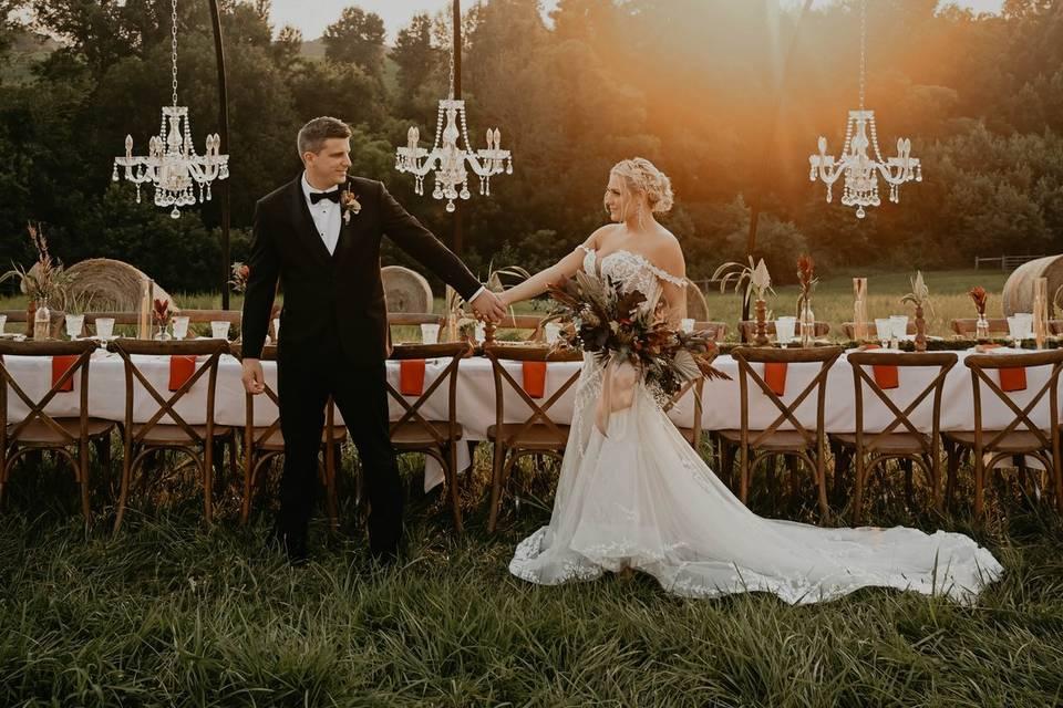 Magical wedding in a field