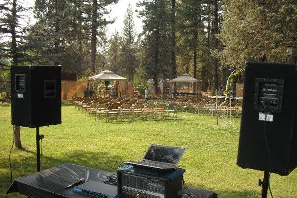 Basic outdoor setup for just a wedding reception. Second sound system can be available to amplify officiant as well as bride and groom. Mike Flanagan is ordained to marry just in case of emergency.