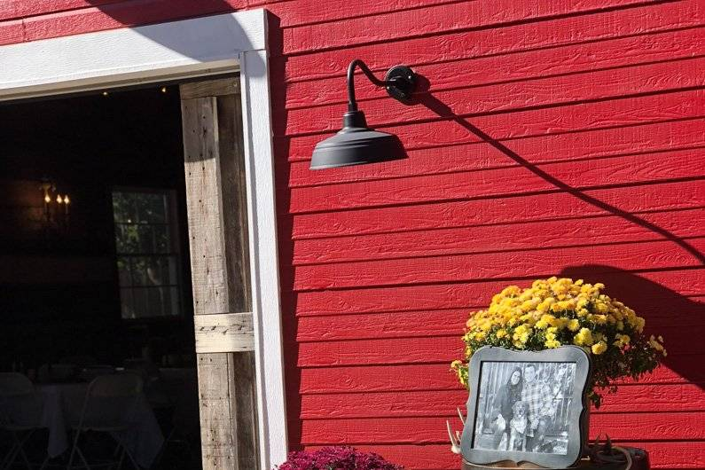 Red barn with florals