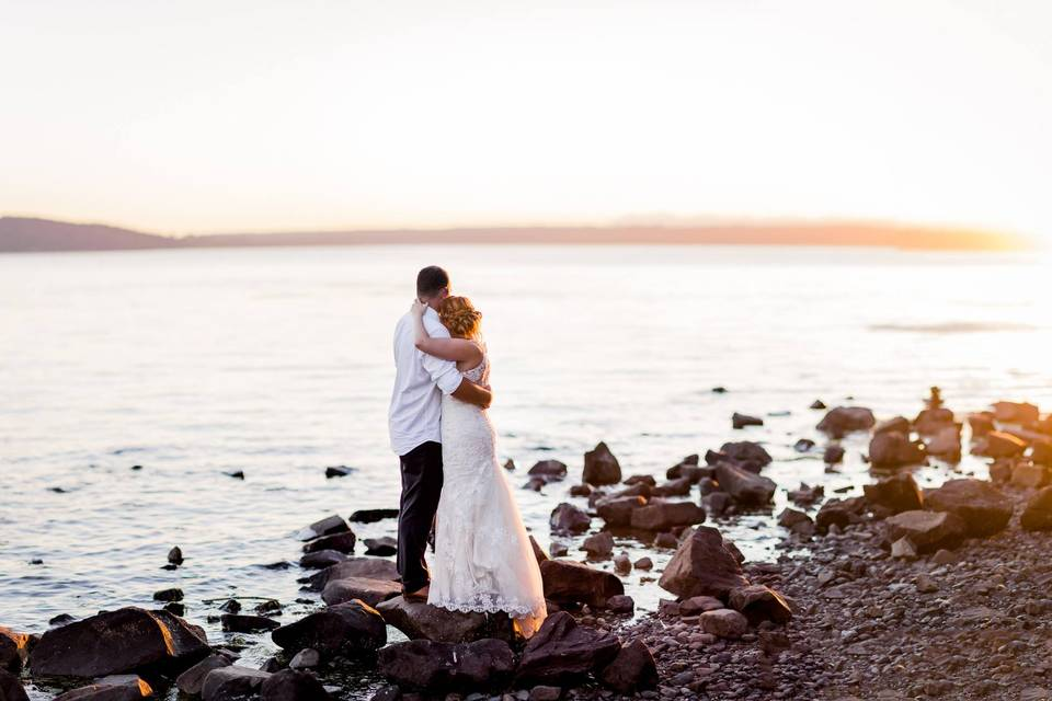 Couple on Rocky Shore