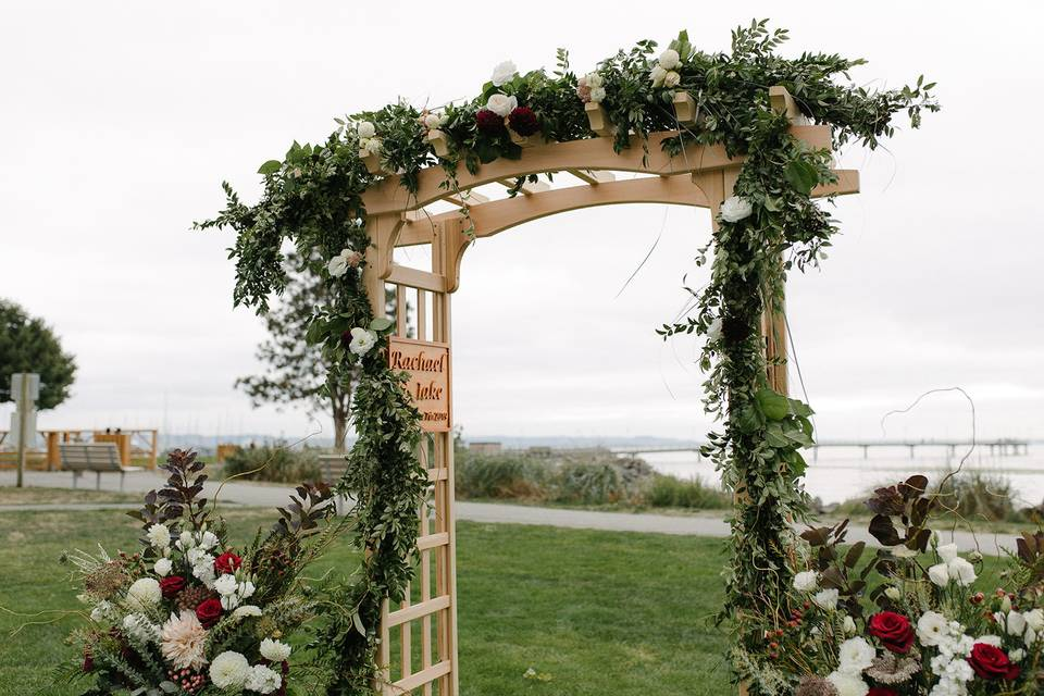 Wedding arch in the meadow