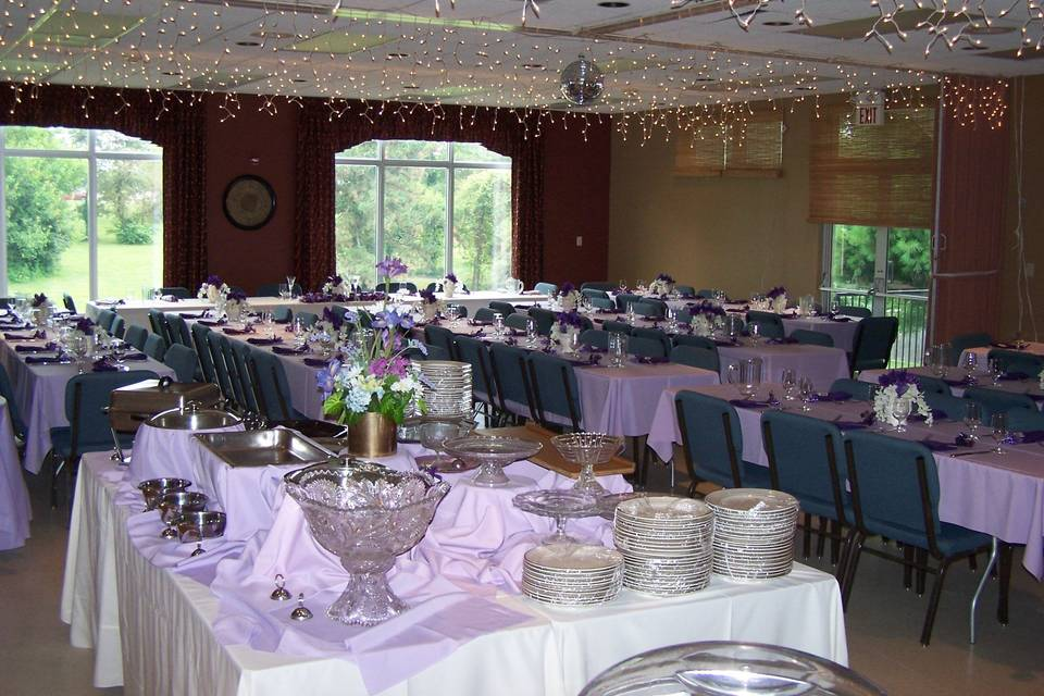 Our dining hall can accommodate up to 70 for a sit down dinner, or 100 for a stand up cocktail reception.