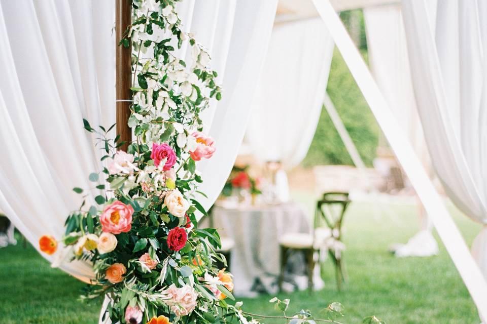 Floral decor and lanterns