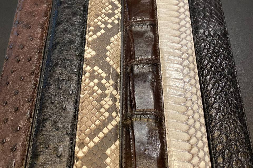 A variety of animal skin belts