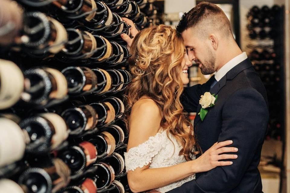 Bride & Groom in Wine Loft