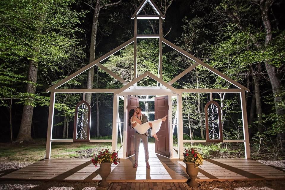 Nighttime wedding photo