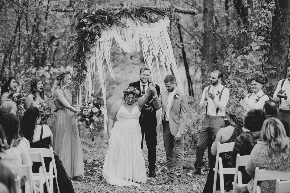 Just married outdoor ceremony