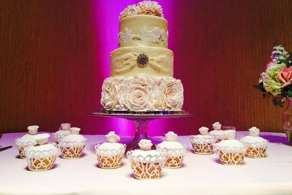 Custom cake and cupcakes