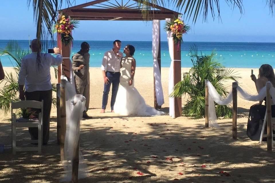 Jamaican beach wedding.