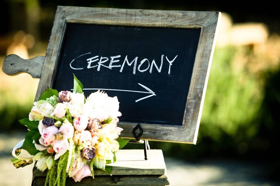 Wedding easel and flower arrangement