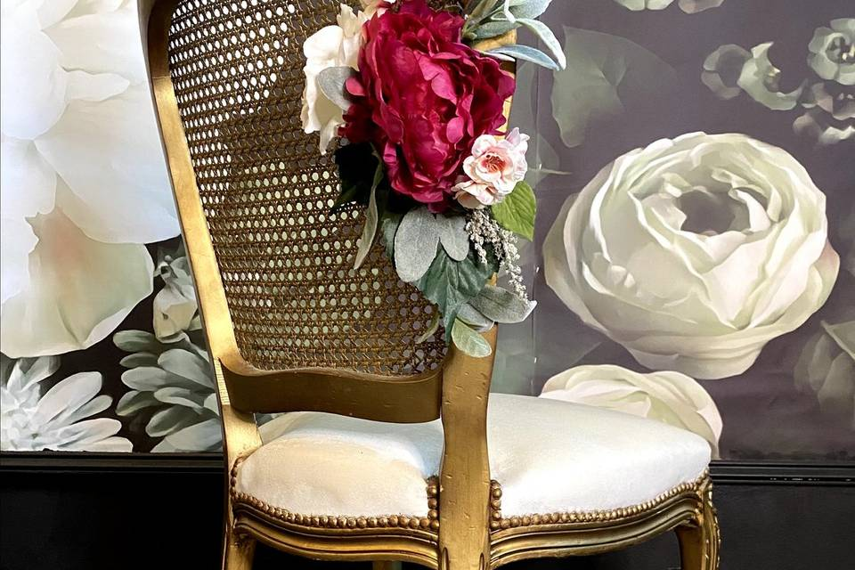 2 Gold and white cane chair