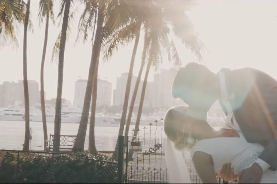 Golden hour kiss
