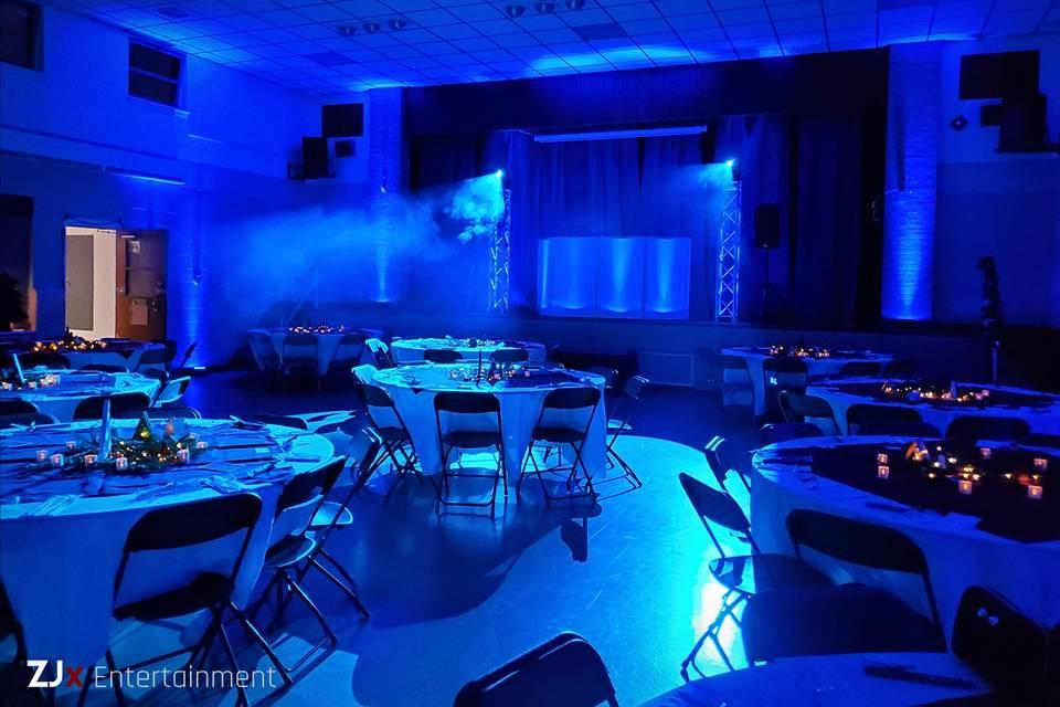 Dance floor lighting with haze