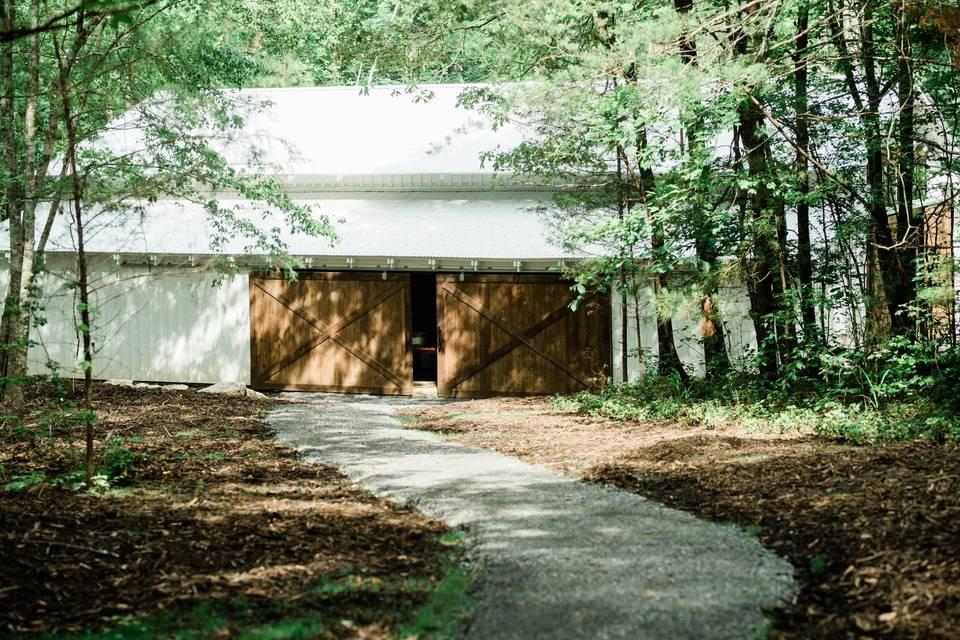 Romantic path to wide barn doors