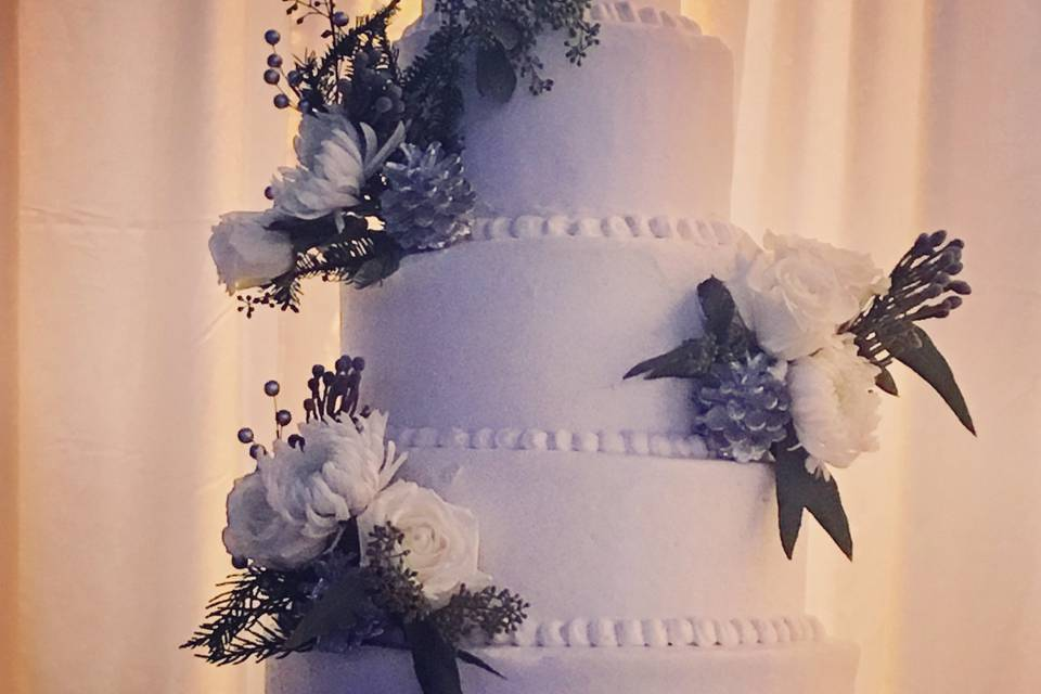 Tiered cake with florals