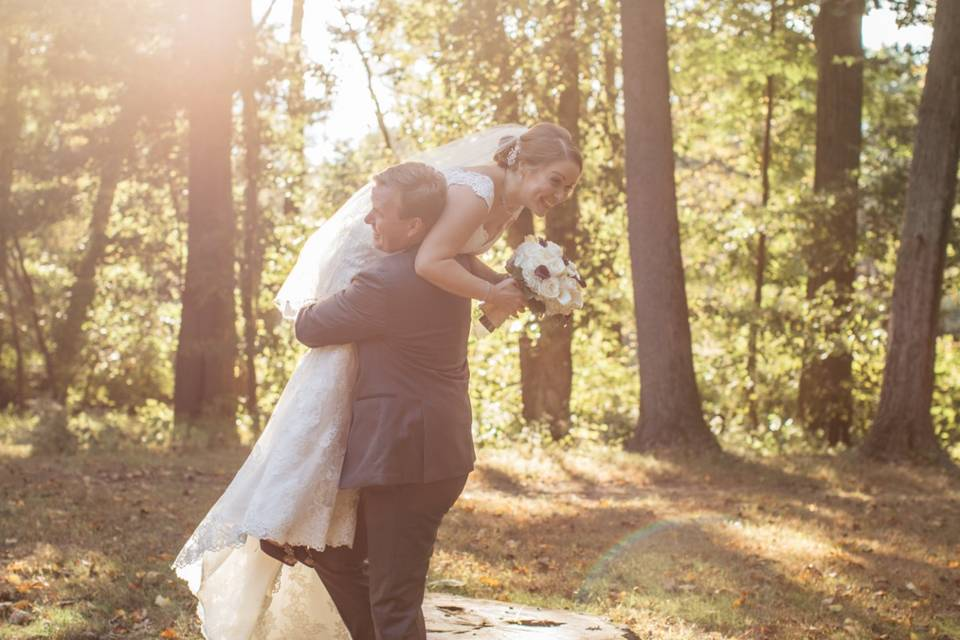 Couple embracing in nature