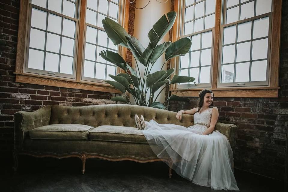 Bride on corner couch