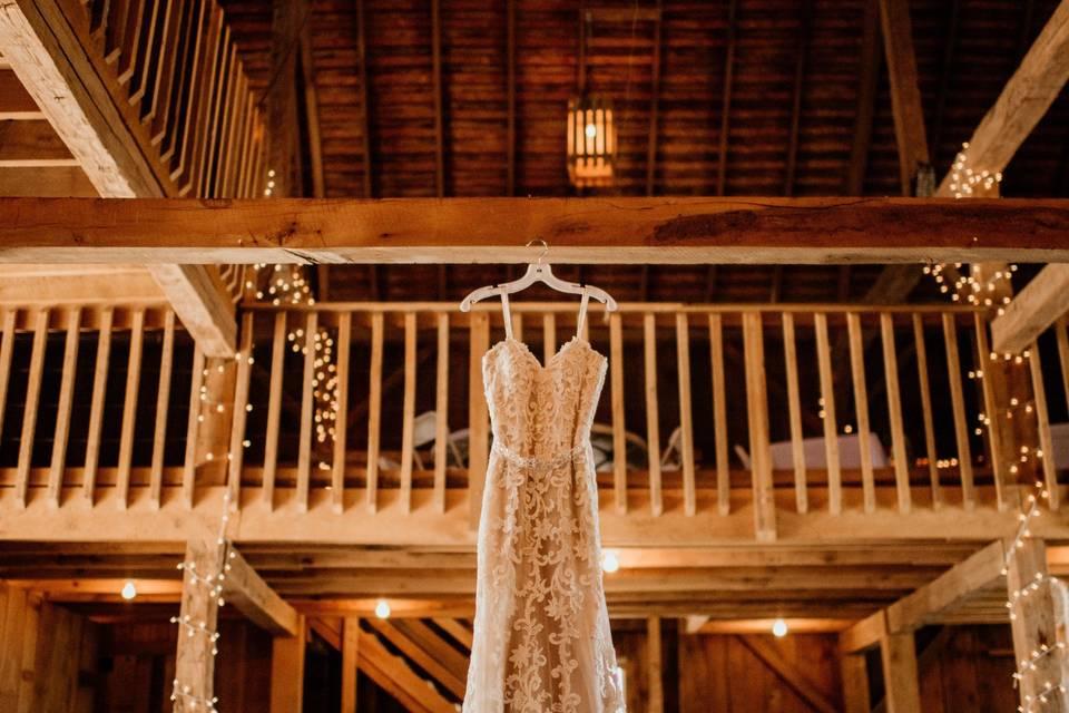 Wedding dress awaiting an elegant country bride