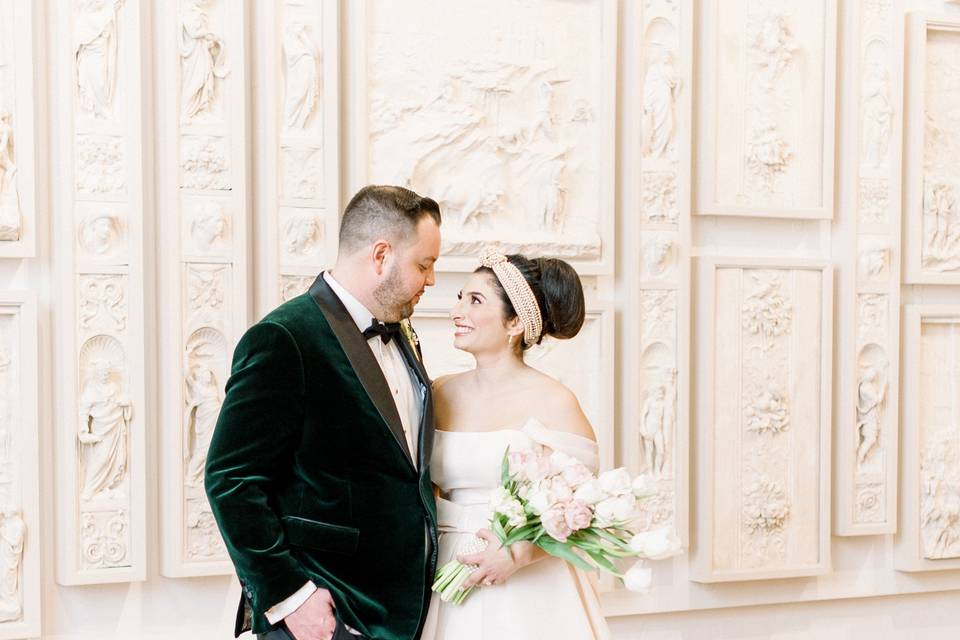 Wedding couple in Cast Hall