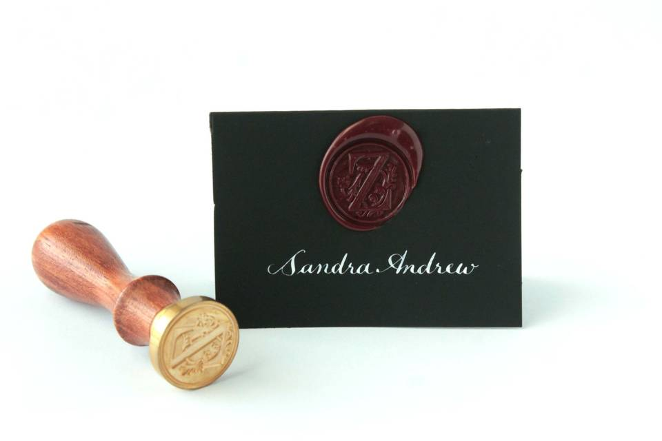Place cards with red wax seal