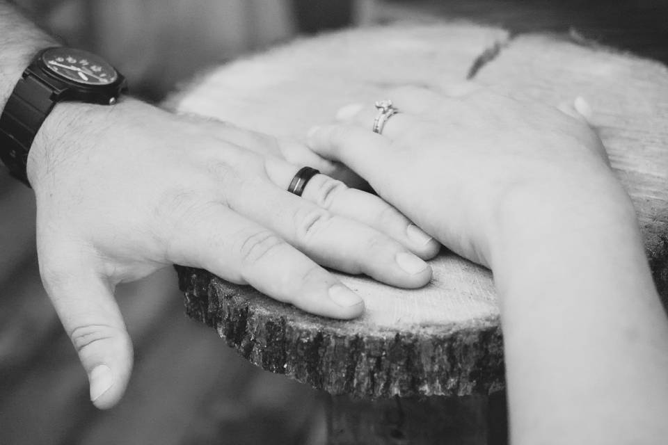 Close up of wedding rings in black and white