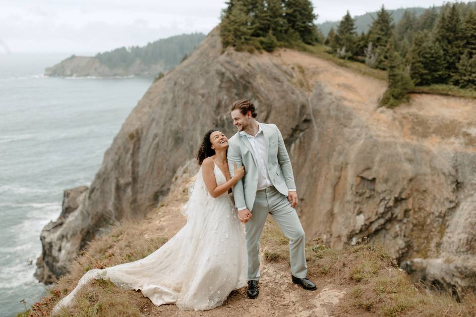 Couple on cliffside