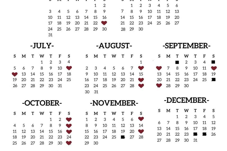 2020 Dates Left