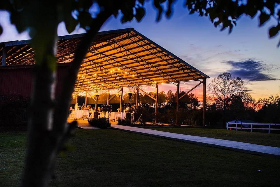 The Main Pavilion at sunset.