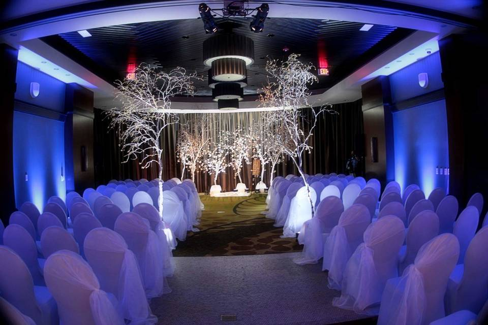 Real birch trees aligned to create a winter wonderland feel.920 Events was honored to be a part of this spectacular wedding, providing white chair covers, white organza hoods for the aisle only.  Working with Roots on 9th adding fresh carnations flowers to the birch trees to create the look of cherry blossoms.  Working with Dream Lighting company to add the room lighting and stage lighting.  Gorgeous!