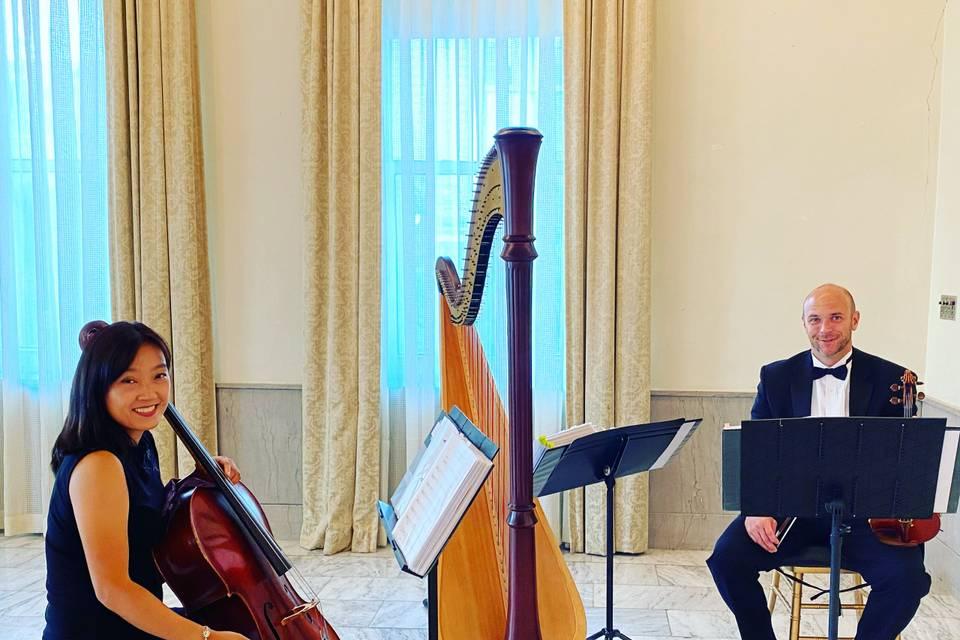 Harp, violin and cello trio