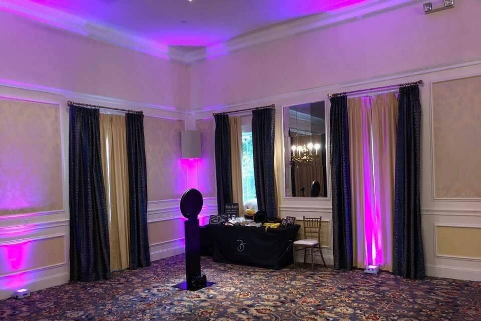 Up-lights Purple & Photo Booth
