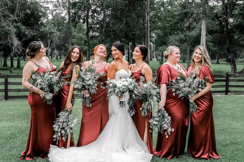 Emily and her bride tribe