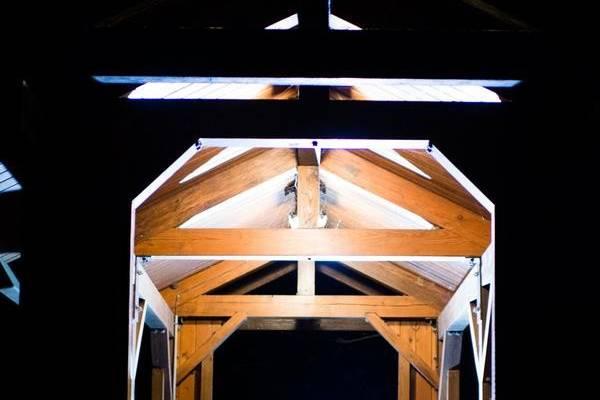 Train bridge at night