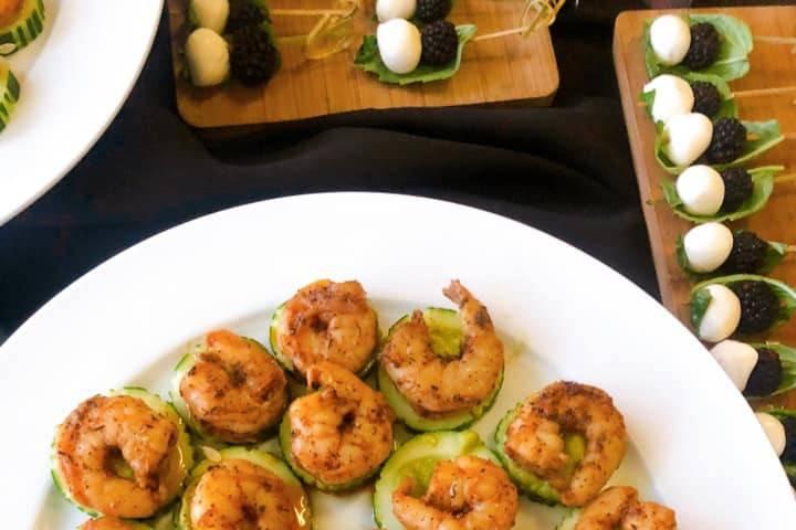 Guacamole and blackened shrimp
