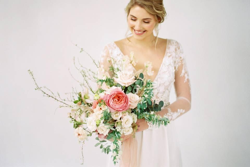 Spirea inspired bridal bouquet