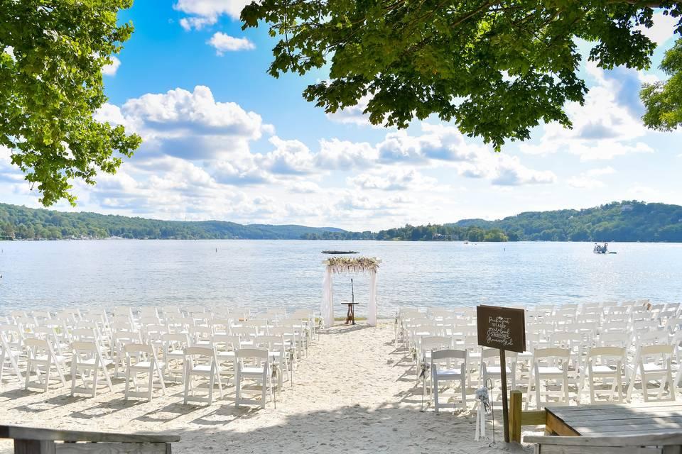 Set up for Beach Ceremony