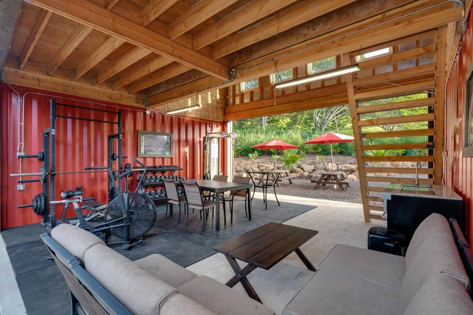 Barn and outdoor area