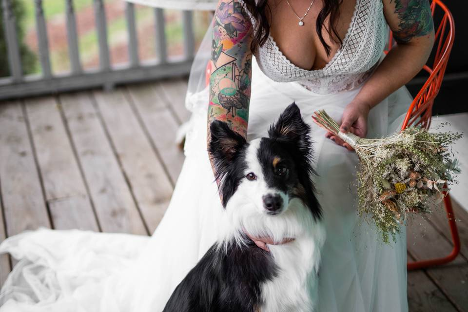 Bride and her pup