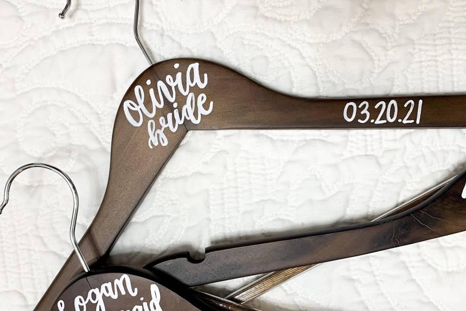 Bridal party custom hangers