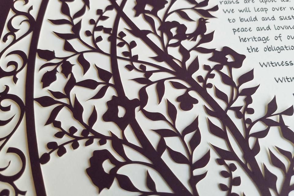 Blooming tree ketubah - plum