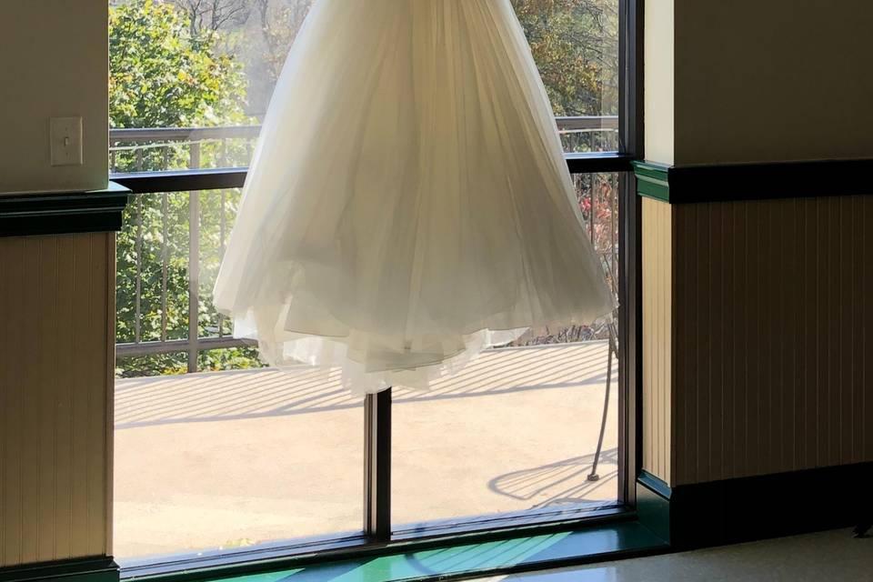 Dress at floor length windows