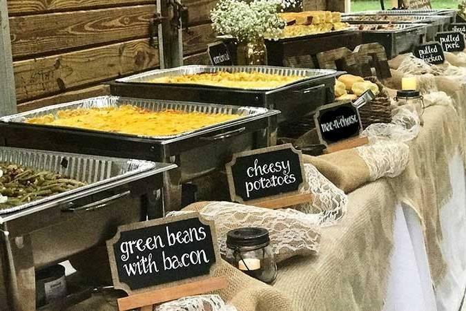 Barn wedding buffet