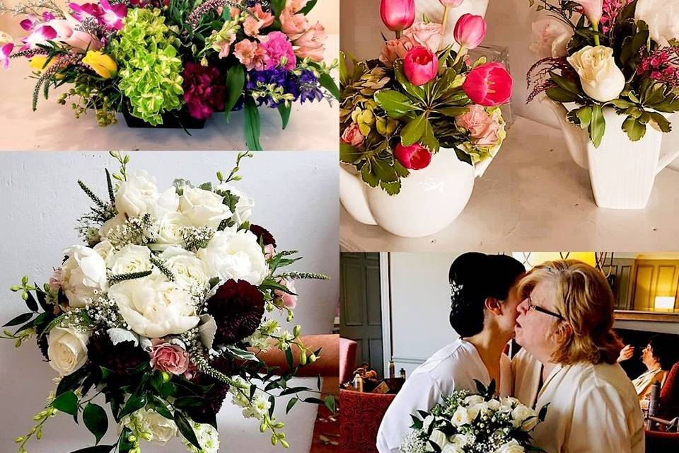 Bride and mother flowers