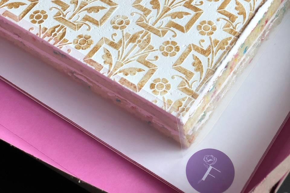 Stenciled Sheet Cake
