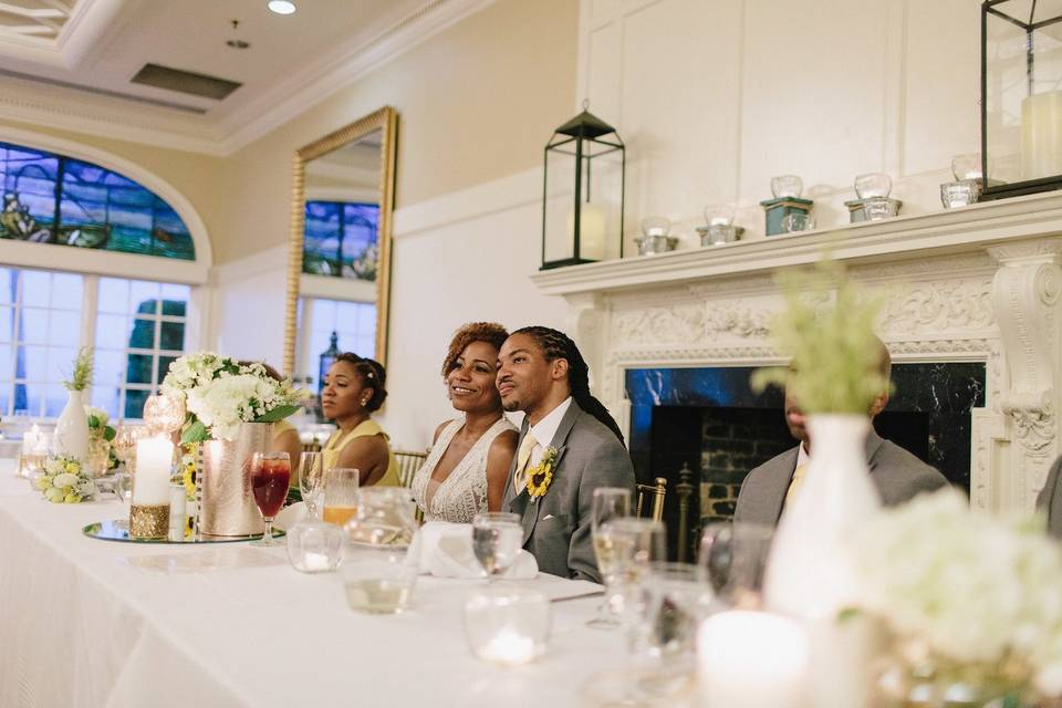 Bride and Groom at headtable